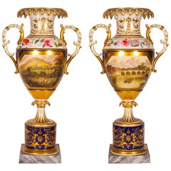 Antique Pair of Royal Worcester Porcelain and Gilt Urns