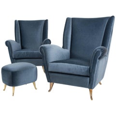 Pair of Armchairs by Gio Ponti Manufactured by ISA Bergamo