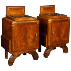 Pair of Italian Bedside Tables in Walnut Wood with Marble Top in Art Deco Style
