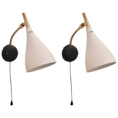 Pair of Cosack Wall or Bed Side Sconces Lamps in Brass and Metal Germany 1950s