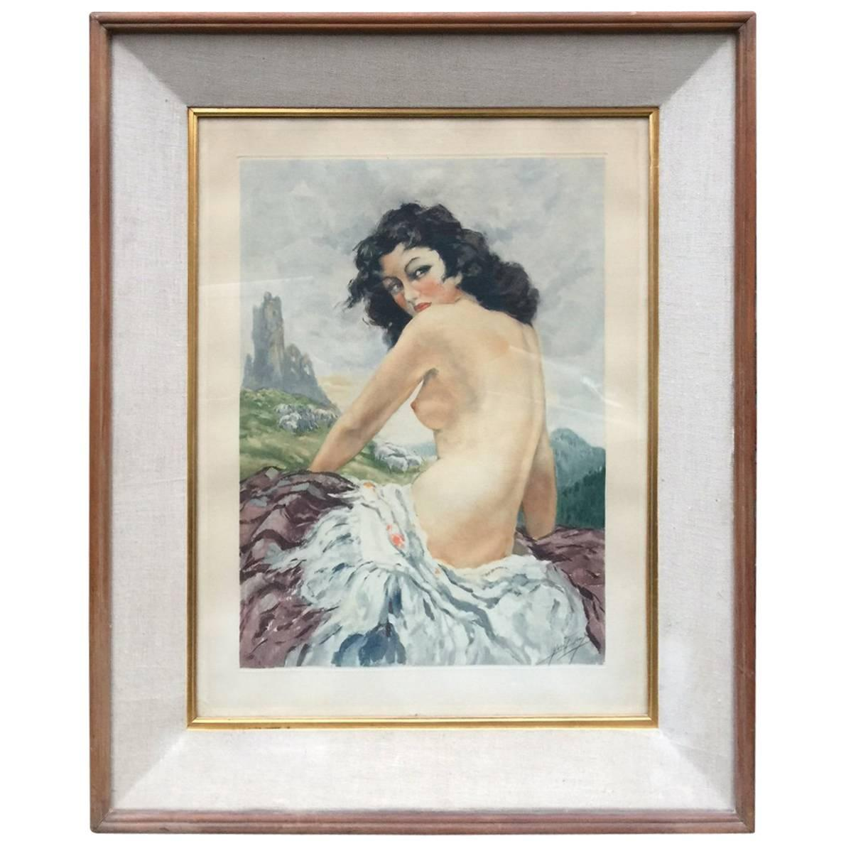 Yves Diey, Art Deco Etching circa 1940, Signed