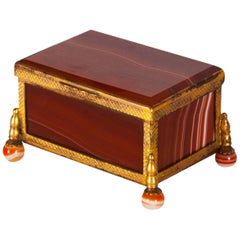 Antique Red Agate and Ormolu-Mounted German Box