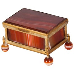 Antique German Agate and Ormolu Lidded Box