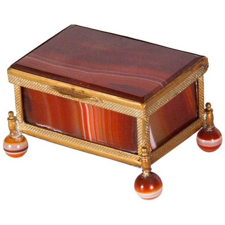 Antique German Agate and Ormolu Lidded Box
