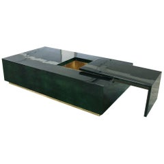 Italian Bar Coffee Table in Green Parchment Goatskin in the Style of Aldo Tura