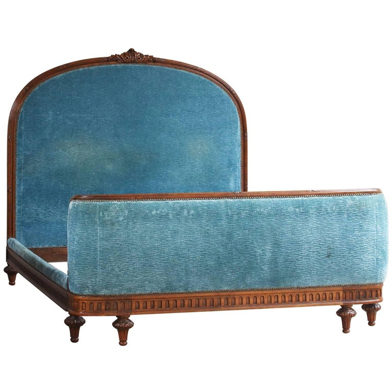 Upholstered Blue Chenille Bed - Bow Foot, WK90