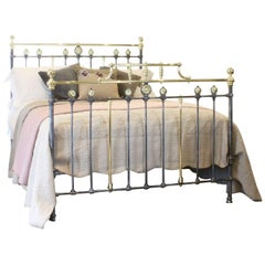Brass and Iron Decorative Bedstead in Charcoal, MK134