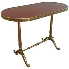 French Neoclassical Style Oval Brass Side Table with Lacquered Wooden Top