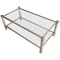 Chromed and Gilt Metal Coffee Table by Pierre Vandel