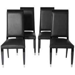 Four French Black Lacquered Art Deco Dining Room Chairs with High Backrest