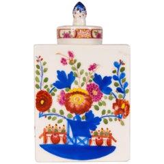Antique Porcelain Miniature Floral Tea Caddy