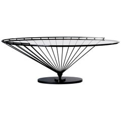 Modern Iron Console Table with Smoked Glass Top by Marzio Cecchi for Hermès