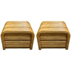 Large Pair of Bamboo End Tables in the Manner of Gabriella Crespi