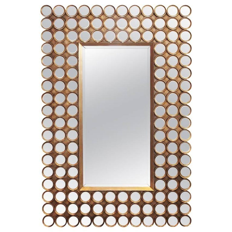 Mirror 144 Facets Matte Gilded For Sale