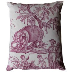 """the Four Continents"" 19th Century Toile De Jouy Cushion"