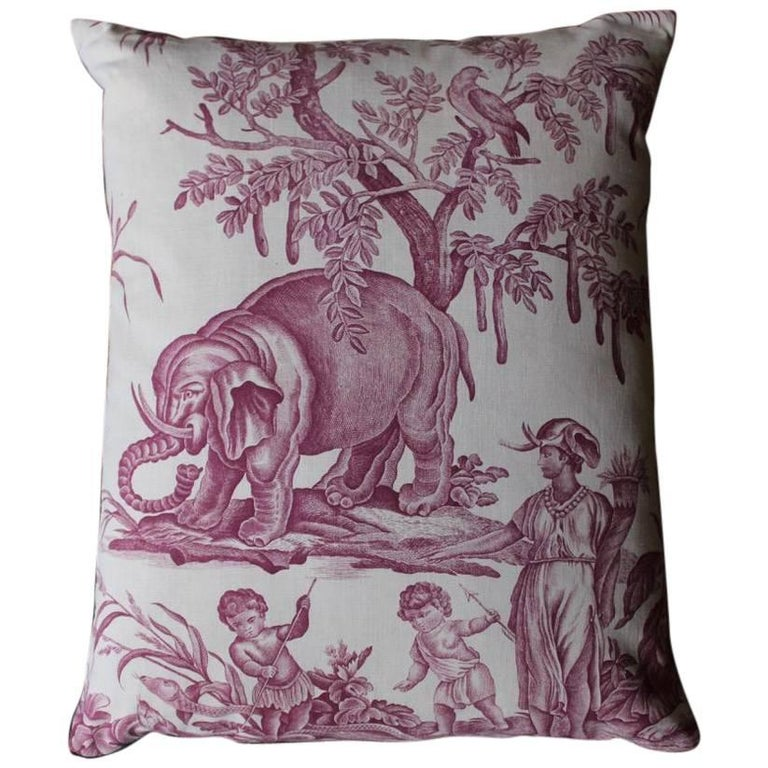 """""""the Four Continents"""" 19th Century Toile De Jouy Cushion"""