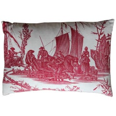 'La Peche Et Le Commerce Maritime' 18th Century French Toile de Jouy Cushion
