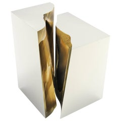 Paradise Side Table in Coated polished stainless steel and Polished Brass