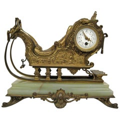 Sleigh Form Ormolu and Onyx Antique Mantel Clock