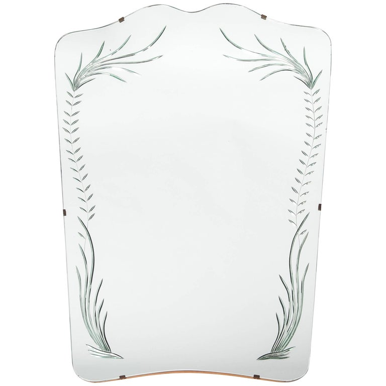 Midcentury Italian Mirror with Fine Modern Engraving by Cristal Art