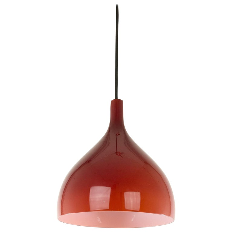 Handblown Red Glass Pendant by Massimo Vignelli, 1950s