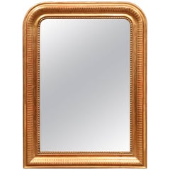 Mid-19th Century French Louis Philippe Goldleaf Mirror with Stripe Design