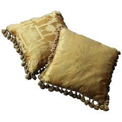 Fine 19th Century French Silk Damask Cushions