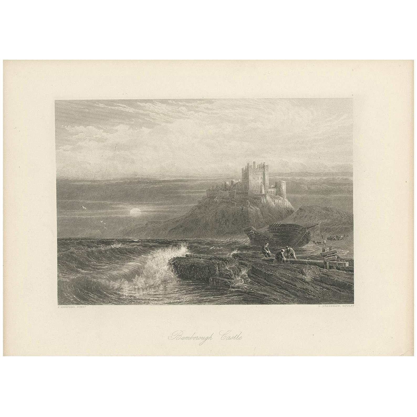 Antique Print of Bamburgh Castle by J. Godfrey, circa 1875