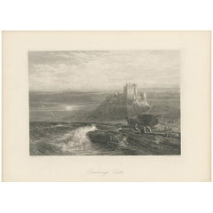 Antique Print of Bamburgh Castle by J. Godfrey, circa 1875