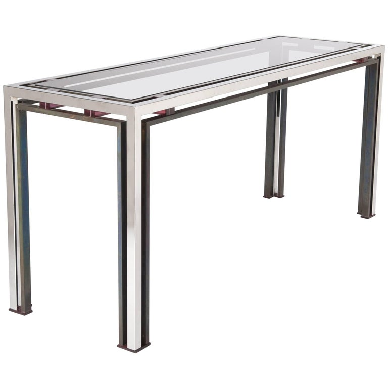 Midcentury Italian Chromed and Bronzed Console Table Attributed to Romeo Rega