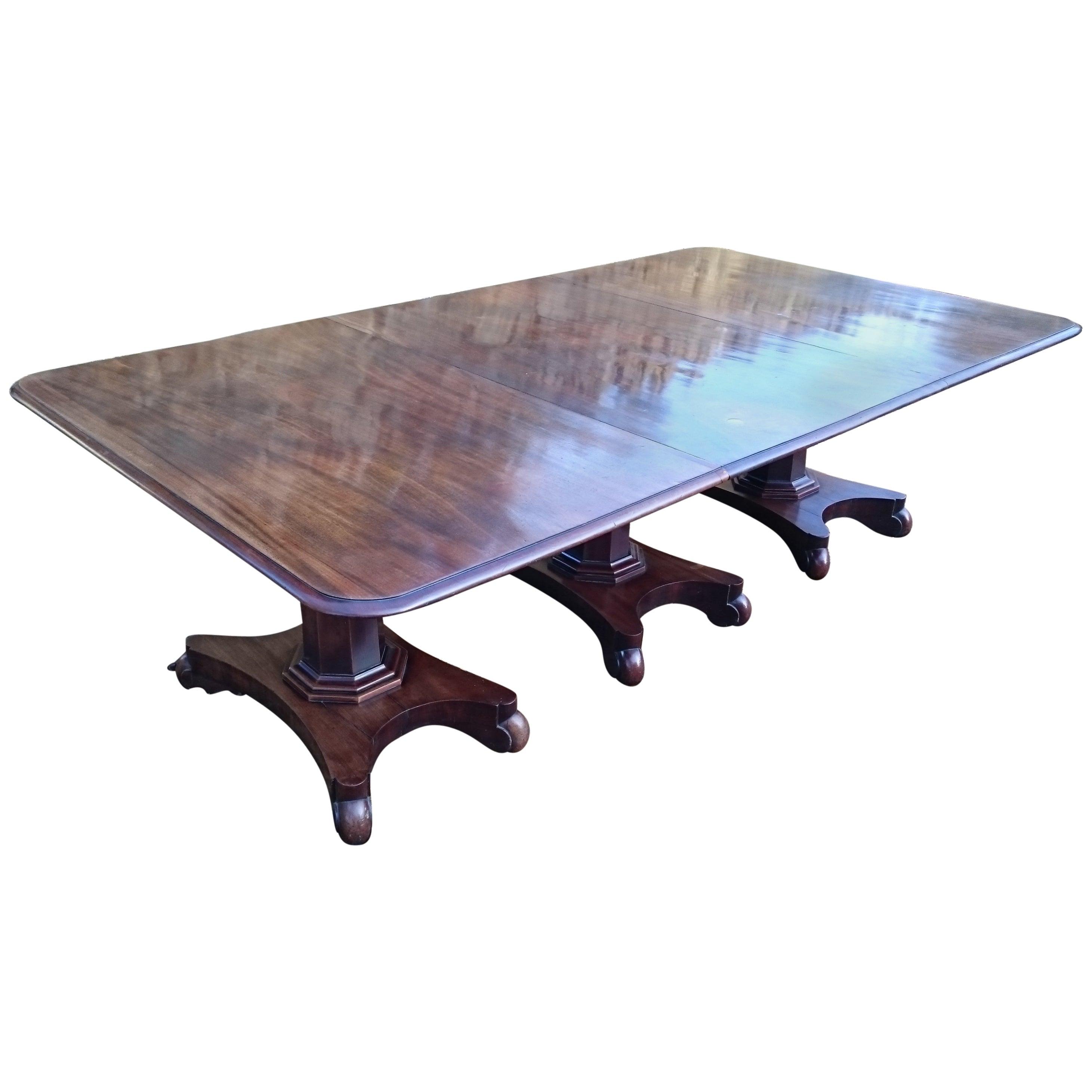 19th Century William IV Period Mahogany Antique Three Pedestal Dining Table