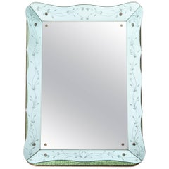 Modern Venetian Turquois Colored Cristal Mirror Floral Engraving from the 1980s