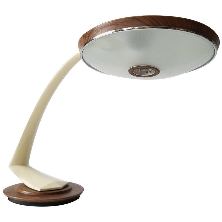 1960s Fase ' Boomerang '  Wood Grain Texturized  Table Lamp, Spain