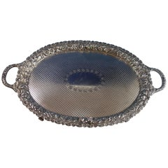 Sheffield Silver Plate Tea Tray Gallery Style Pierced and Engraved