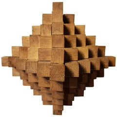 20th Century French Geometric Sculpture Made of Oak