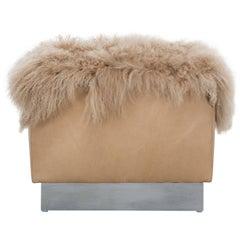 COSETTE OTTOMAN - Modern Leather Ottoman with Tibetan Mongolian Lamb Fur Pelt