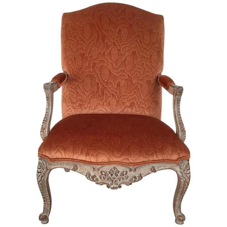 Regal French Louis XV Style Painted Armchair