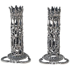 Sculptural Brutalist Silver Candlesticks