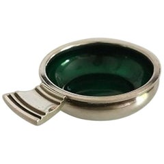 "Georg Jensen ""Parallel"" Sterling Silver Salt Dish No. 4 with Green Enamel"