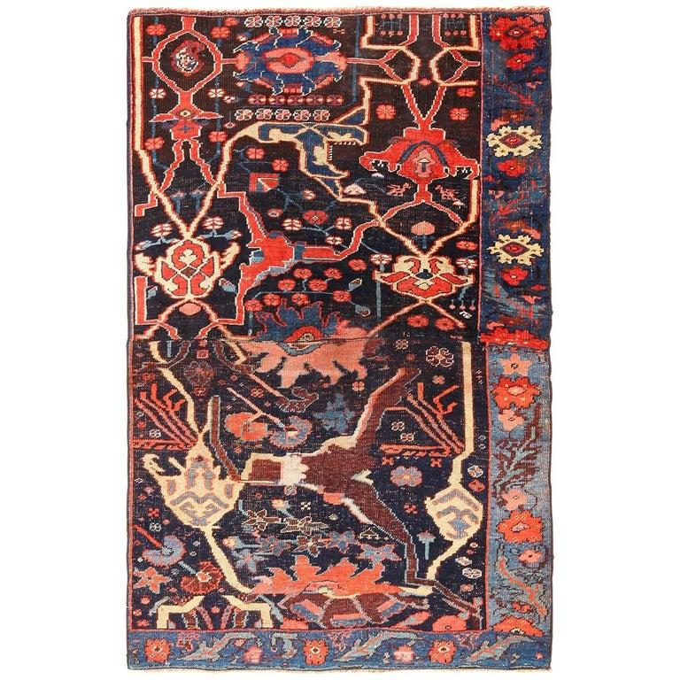 Small Collectible Antique Persian Bidjar Sampler Rug