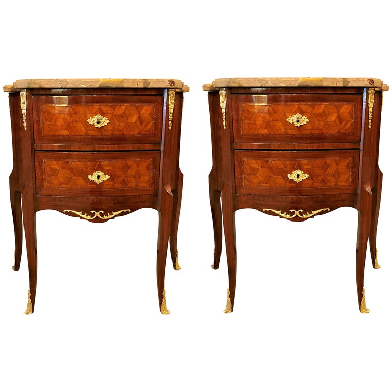 Pair of French Marble Top Two Drawers Bronze-Mounted Tables or Nightstands