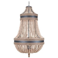 BASQUE CHANDELIER - Modern Chandelier with Cerused White Oak Beads