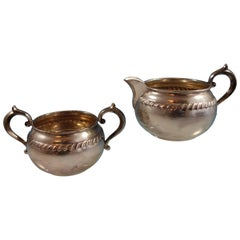 English Gadroon by Gorham Sterling Silver Sugar and Creamer Set Hollowware