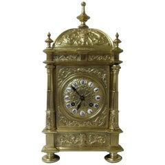 French 19th Century Belle Epoque Decorative Brass Mantel Clock