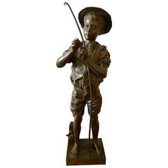 Listed Artist Adolphe-Jean Lavergne Bronze Figure of a 'Pecheur' Fisherman