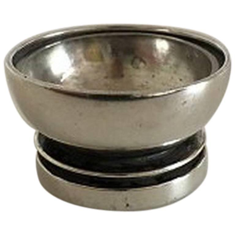 Georg Jensen Sterling Silver Pyramid Salt Cellar with Glass #632 For Sale