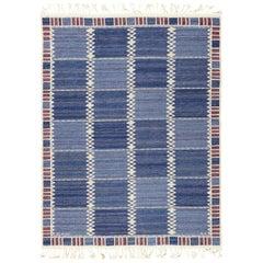 Vintage Scandinavian Marta Maas Salerno Blue Kilim Rug by Barbro Nilsson