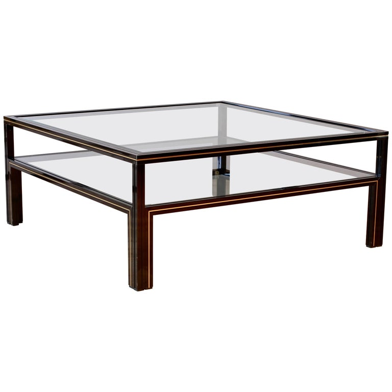 Pierre Vandel Signed Large Black and Gold Two-Tiered Square Coffee Table, 1980s