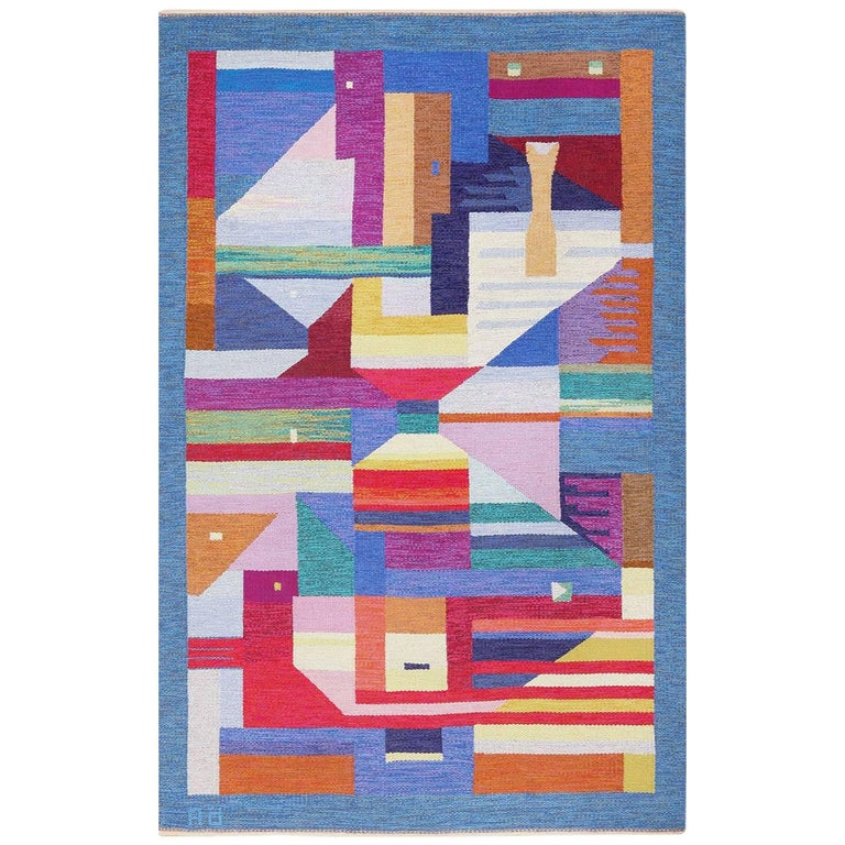 """Colorful Vintage Scandinavian Kilim Rug by Agda Osterberg. Size: 5' 5"""" x 8' 5"""" For Sale"""