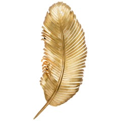 JOSETTE SCONCE - Modern Hand Forged Gold Leaf Feather Sconce